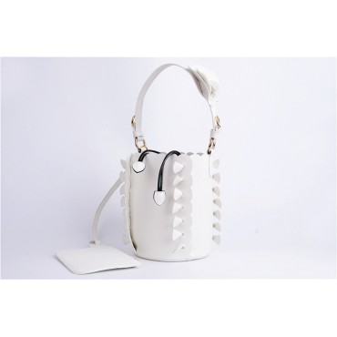 Eldora Genuine Leather Bucket Bag White 76224