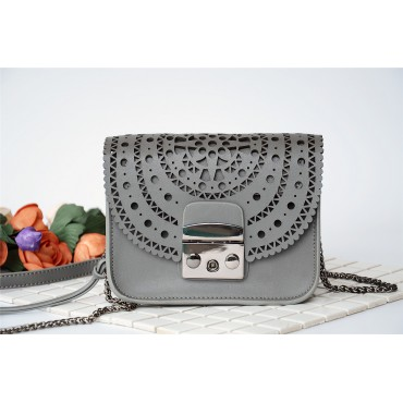 Eldora Genuine Leather Shoulder Bag Grey 76229
