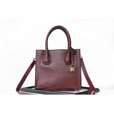 Eldora Genuine Leather Tote Bag Dark Red 76235