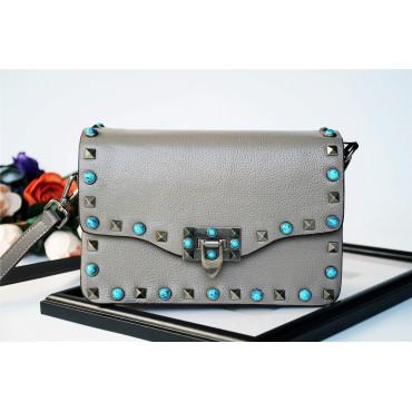 Eldora Genuine Leather Shoulder Bag Grey 76239