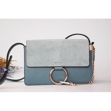 Eldora Genuine Leather Shoulder Bag Grey Light Blue 76340