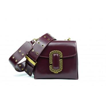 Eldora Genuine Leather Shoulder Bag Purple 76345