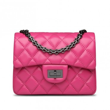 Rosaire « Madeleine » Quilted Lambskin Leather Shoulder Flap Mini Bag with Chain / Magenta Color / 75111