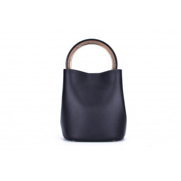 Eldora Genuine Leather Bucket Bag Dark Blue 76347