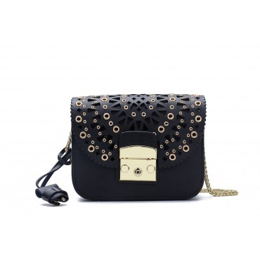 Eldora « Eloise » Genuine Leather Shoulder Bag Black 76348