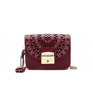 Eldora « Eloise » Genuine Leather Shoulder Bag Wine Red 76348