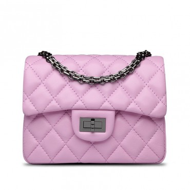 Rosaire « Madeleine » Quilted Lambskin Leather Shoulder Flap Mini Bag with Chain / Pink Color / 75111