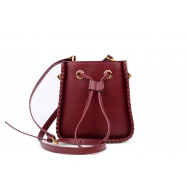 Eldora Genuine Leather Bucket Bag Dark Red 76350