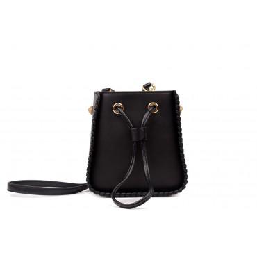 Eldora Genuine Leather Bucket Bag Black 76350