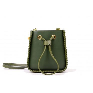 Eldora Genuine Leather Bucket Bag Dark Green 76350