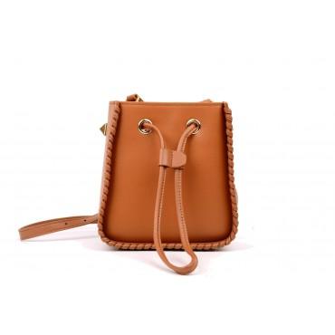 Eldora Genuine Leather Bucket Bag Brown 76350