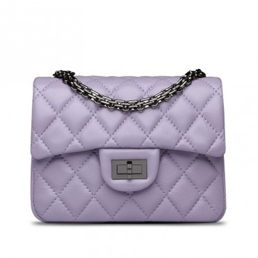 Rosaire « Madeleine » Quilted Lambskin Leather Shoulder Flap Mini Bag with Chain / Light Purple Color / 75111