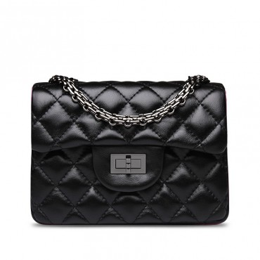 Rosaire « Madeleine » Quilted Lambskin Leather Shoulder Flap Mini Bag with Chain / Black Color / 75111