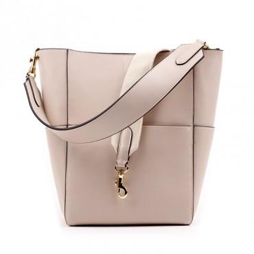 Eldora Genuine Leather Bucket Bag Beige 76367