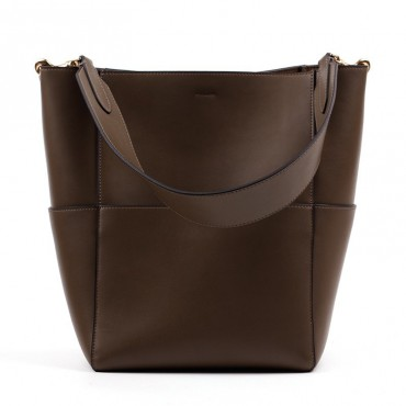 Eldora Genuine Leather Bucket Bag Coffee 76367