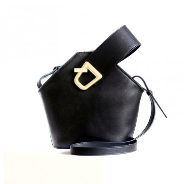 Eldora Genuine Leather Bucket Bag Black 76370