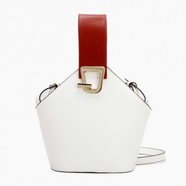 Eldora Genuine Leather Bucket Bag White 76370