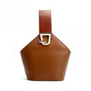 Eldora Genuine Leather Bucket Bag Brown 76370