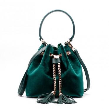 Eldora Genuine Leather Bucket Bag Green 76378