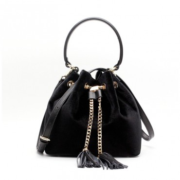Eldora Genuine Leather Bucket Bag Black 76378