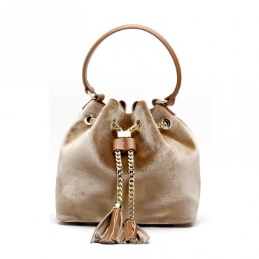 Eldora Genuine Leather Bucket Bag Apricot 76378