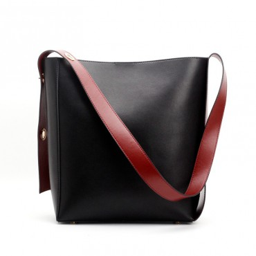 Eldora Genuine Leather Bucket Bag Black 76374