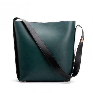 Eldora Genuine Leather Bucket Bag Dark Green 76374