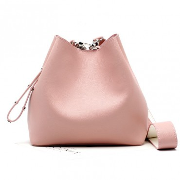 Eldora Genuine Leather Bucket Bag Pink 76377