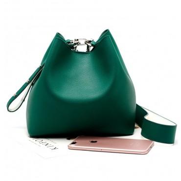 Eldora Genuine Leather Bucket Bag Green 76377