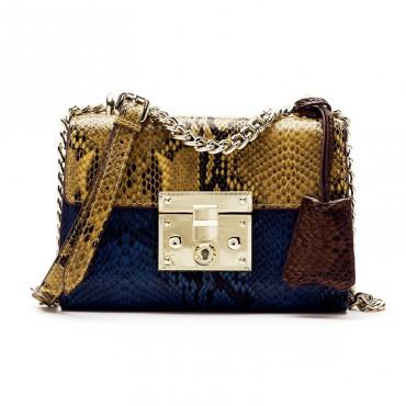 Sac à main porté épaule en cuir Bleu Jaune 76380