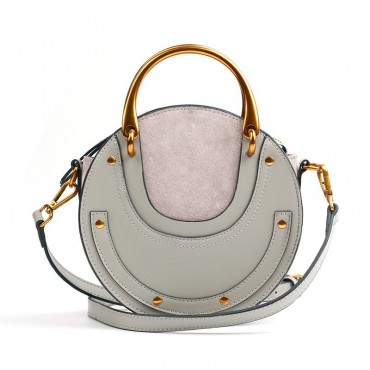 Eldora Genuine Leather Shoulder Bag Grey 76381