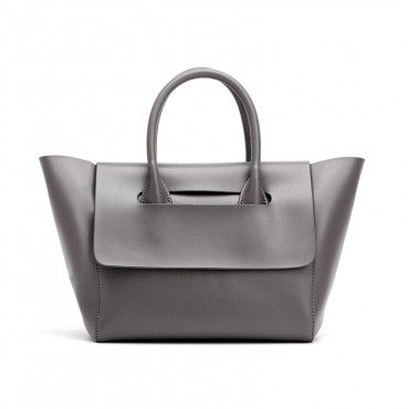 Eldora Genuine Leather Top Handle Bag Grey 76386