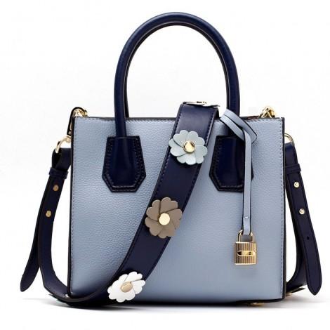 Eldora Genuine Leather Shoulder Bag Light Blue 76387
