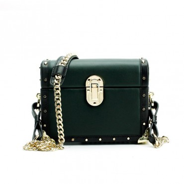 Eldora Genuine Leather Shoulder Bag Dark Green 76397