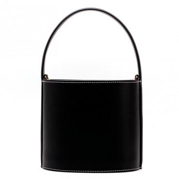 Eldora Genuine Leather Bucket Bag Black 76409