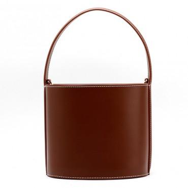Eldora Genuine Leather Bucket Bag Brown 76409