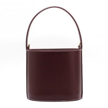 Eldora Genuine Leather Bucket Bag Dark Red 76409