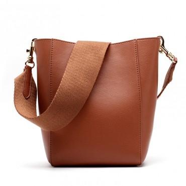 Eldora Genuine Leather Bucket Bag Brown 76410