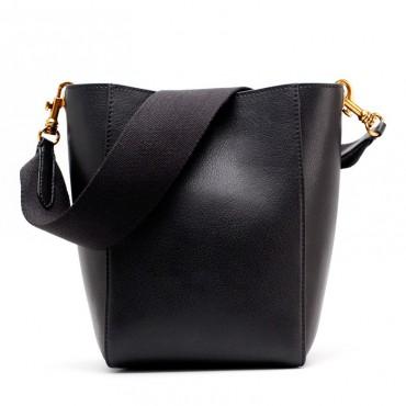 Eldora Genuine Leather Bucket Bag Black 76410