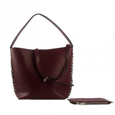 Eldora Genuine Leather Bucket Bag Dark Red 76428