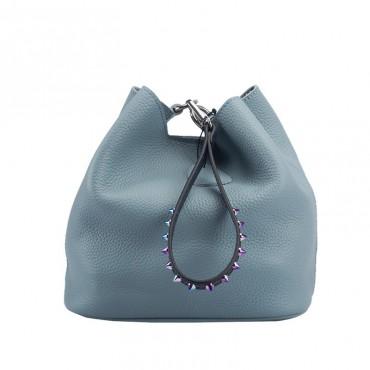 Eldora Genuine Leather Bucket Bag Blue 76433
