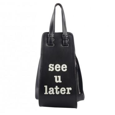 Eldora « See u later » Genuine Cowhide Leather Tote Bag Black 76443