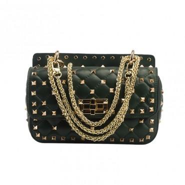 Eldora « Cynthia » Genuine Sheepskin Leather Quilted & Studded Top Handle Flap Bag Black 76446