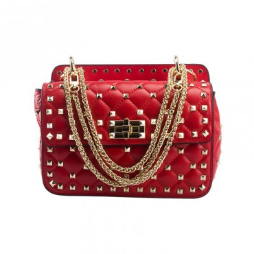 Eldora « Cynthia » Genuine Sheepskin Leather Quilted & Studded Top Handle Flap Bag Red 76446