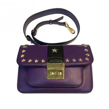 Eldora Genuine Leather Shoulder Bag Purple Black 76447