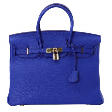 Rosaire « Beaubourg » Genuine Cowhide Full Grain Leather Top Handle Bag Padlock in Blue Electric / Gold 15881