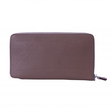 Rosaire « Helene » Women's Zipper Wallet made of Togo Leather in Elephant Gray Color 15986
