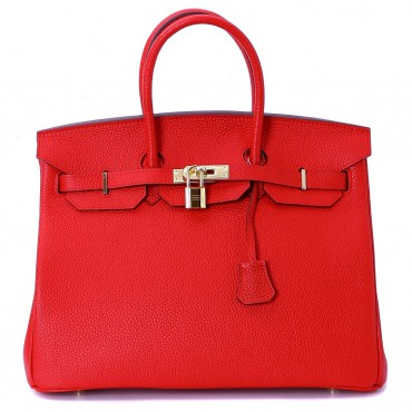 Rosaire « Beaubourg » Genuine Cowhide Full Grain Leather Top Handle Bag Padlock in Red / Gold 15881