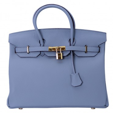 Rosaire « Beaubourg » Top Handle Bag Made of Genuine Togo Full Grain Leather with Padlock in Light Blue Color / Gold 15881