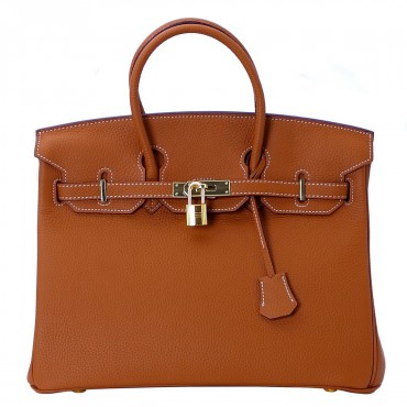 Rosaire « Beaubourg » Top Handle Bag Made of Genuine Togo Full Grain Leather with Padlock in Brown Color / Gold 15881